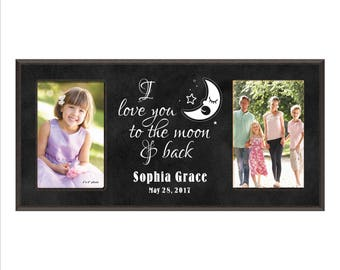 "Custom Baby Frame, ""I love you to the moon and back"" Personalized Photo Frame, Baby shower Gift, Child's Room Frame, Baby Picture Frame Gift"