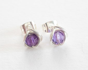 Tiny Amethyst Stud Earrings, Tiny Faceted Amethyst Post Earrings, Purple Stud Earrings, February Birthstone, Bridesmaids Gifts