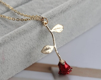 Beauty and Beast Rose Necklace, Red Rose Flower Necklace , Rose Monogram Necklace , Rose Initial Necklace , Flower Necklace,Rose Gold Plated
