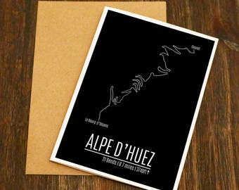 Alpe D'huez Famous Climbs Cycling Art Card - Bike Art - Cycling Birthday Card - Cyclist - Blank