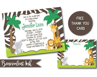 Jungle Animal Baby Shower Invitation - Safari Baby Shower Invite - Printable Safari Baby Shower Invitation with FREE Thank You Card