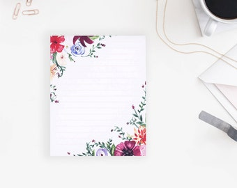 Floral Stationery | Watercolor | Lined - 4x5 Inches