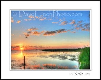Corolla NC North Carolina - OBX  - Currituck Sound - Outer Banks - Sunset - Home Office Decor - Art Prints by Richmond VA Photog Dave Lynch
