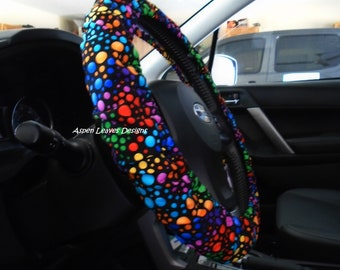 Bright Dots Steering Wheel Cover Carnivale Style Colors On Black Fabric Neon Car Accessories