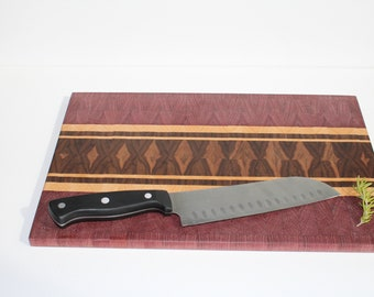 Walnut, Purpleheart and Cherry End Grain Cutting Board (Thin)