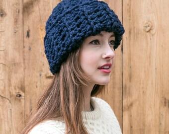 Navy Wool Beanie // Cuffed Knit Hat // Slouchy Beanie // Unisex Hats // THE AUBREY shown in Navy