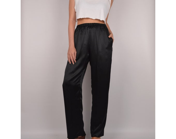 "SALE Black SILK Easy Pant / 26""-28"" High Waist"