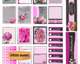 Pink Peonies and lace/ Instant Digital Download/ EC Vertical Planner/ Peony stickers/ Basket of pink flowers/ Sweet/ Pink and Gray/ Romantic