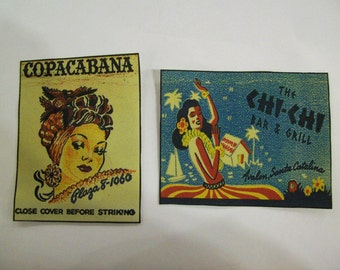 pin up patch set retro 1950's vintage matchbook cover hula girl rockabilly sew on patch