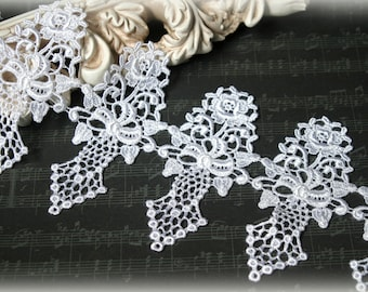 """White Venise Lace Trim, Lace Appliques, Couture Gowns, Dresses, Crafting, etc, approx.4.50"""" GL-184 10% off """"SUMMER10"""" at checkout"""