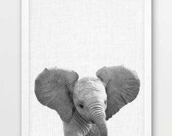 Elephant Print, Cute Baby Elephant Photo Print, Africa Safari Savanna Animals Art, Black White Photography, Nursery Wall Kids Room Art Decor