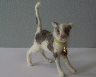 Gray and white  Kitten   Needle Felted cat