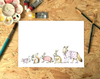 Watercolour Woodland Animals in Clothes Print, Illustration, Painting A3, A4, A5