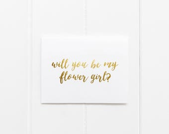 Gold Foil 'Will You Be My Flower Girl' Greeting Card