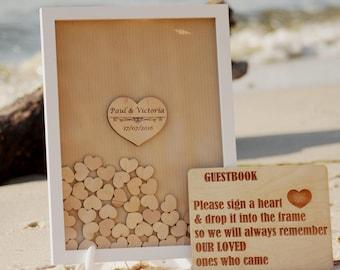 Wedding guest book alternative, Wedding guestbook Brown, Wooden hearts, Brown White Drop top box, Wedding box, Wedding Sign