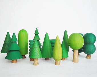 Woodland Tree Set (14 pcs) Wooden Tree figurines Toys for kids Learning toys Nature table Play set