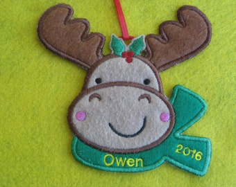 Personalized Moose Christmas Ornament or Gift Tag
