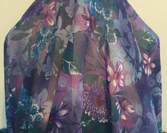 17-298 Crinkle Plum and Blue Floral- Sold by the Yard