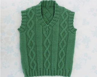 BABY / TODDLER BOY Sleeveless Sweater / Vest - 1 to 2 year size - cute cable design in green - 1st birthday gift - ready to ship