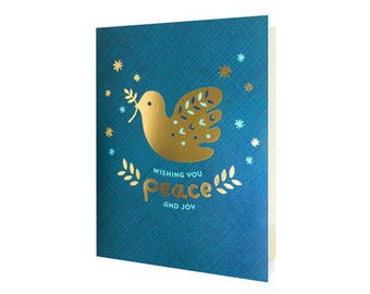 Gold Dove Foil Stamped Holiday Cards, Box of 8 - Dove Christmas Cards - Wishing You Peace and Joy - OC1187-BX