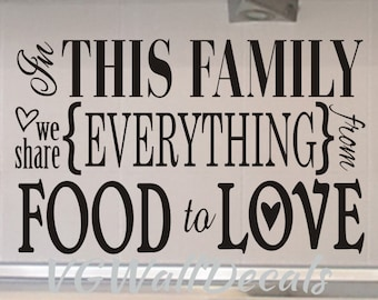 Family Wall Decal In This Family Kitchen Wall Decal Dining Room Wall Decal Kitchen Wall Decor Vinyl Lettering Decorations Sticker Removable