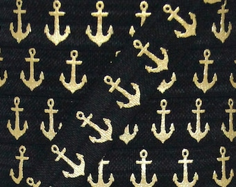Black and Gold Metallic Anchor Print Fold Over Elastic - Elastic for Baby Headbands and Hair Ties - 5 Yards 5/8 inch Printed FOE