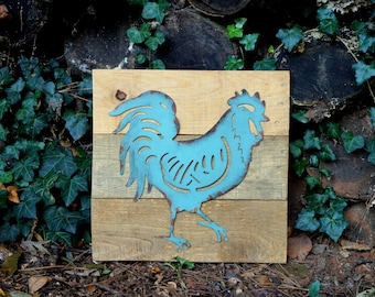 Blue Metal Rooster Reclaimed Wood Sign