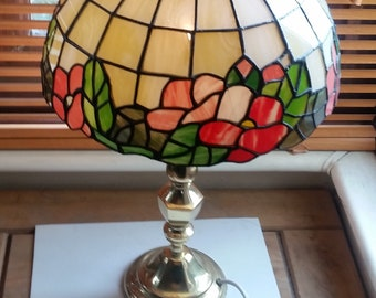 Tiffany Victorian styled Stained Glass tall Table Lamp