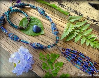 Boho Necklace; Tassel Necklace; Long Boho Necklace; Bohemian Necklace; Hippie Necklace; Long Bead Necklace; Blue Necklace; Australian Seller