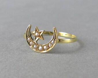 VICTORIAN crescent moon and star antique engagement ring or promise ring, pearl and gold ring, solid gold unique conversion ring, magic ring