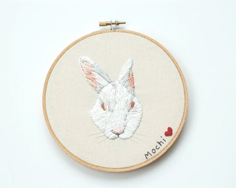 """Custom Pet Portrait Embroidery. Pet Memorial Art. Pet Remembrance Custom Hoop Art. Hand Stitched Animal Thread Painting. 4"""" Pet Embroidery"""