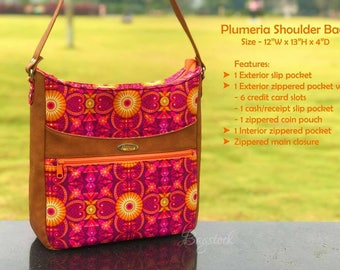 Plumeria Shoulder Bag, PDF sewing pattern, Bagstock Designs