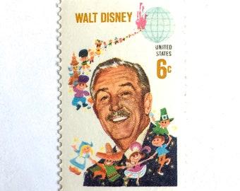 5 Vintage Walt Disney Postage Stamps // 1968 Unused Vintage 6 Cent Walt Disney Stamps for Mailing