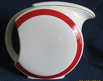 REDUCED PRICE - White & Red Disc Style Pitcher - circa 1930's