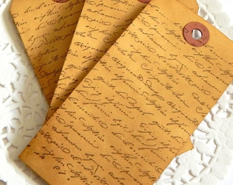 Coffee Stained Script Tags. French Script. Embellishment. Vintage Tags. Scrapbook Ephemera. Junk Journal Paper. French Ephemera. Gift Tags.