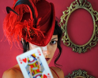 Queen of Hearts Hat,Steampunk Alice in Wonderland Costume Hat,Red Gothic Lolita Hat,Tea-Party Victorian Hat with Ostrich-Made to Order