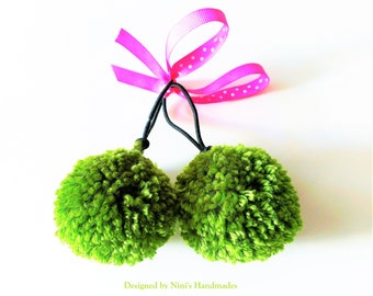 Pair of Woodland Forest inspired Pom Pom Ponytail Holders, adorable girls  hair accessories, hair elastic, fall hair ties, stocking stuffers