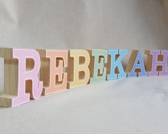 Small freestanding wood block name, pine decoupage letters, Wooden name various sizes and colours available