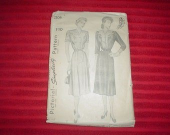 """1940's One Piece Day Or Evening Dress - Vintage Sewing Pattern - Simplicity 2104- Size 38"""""""