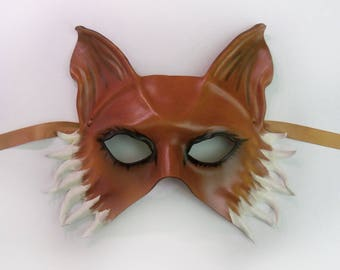 Leather Mask of a Fox or Dog costume Art masquerade animal Very lightweight and easy to wear Mardi Gras