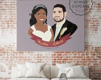 Custom Wedding Portrait // Bride & Groom / Anniversary/Personalized Gift/Wedding Gift/Gifts For Couples / Couple Portrait / Digital File PDF