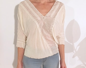 DANICA Vintage Cotton Loose-fit Batwing Dolman Sleeved White Boho Peasant Top with Sheer Paneling, Ruched Pleats and Lace Detail