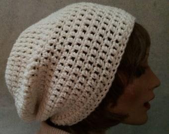 Slouchy beanie, Dreamer beanie, crochet hat, accessory, beanie, hipster beanie , adult slouchy beanie, vegan friendly, slouchy hat