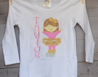 Personalized Ice Skate Girl Applique Shirt or Bodysuit