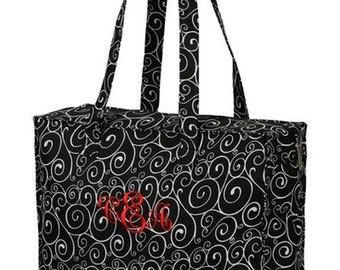 Trendy Black and White Swirls Tote Bag