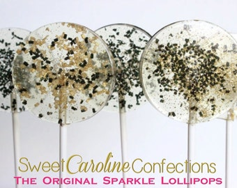 New Years Eve Favors, NYE, New Years Lollipops, Hard Candy Lollipops, Black and Gold, Gold Candy, Gold Favors, Holiday Candy-6/Set