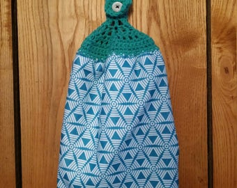 Double Sided Hand Crocheted Dish Hanging Towel. Geometric Design Teal