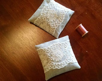 Victorian Rose Lace, Organic Lavender Sachet Set of Two