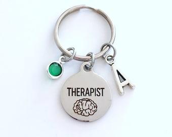 Therapist KeyChain, Therapy Key Chain, Social worker Gift Keyring, initial letter birthstone brain women men her present MSW psychiatrist