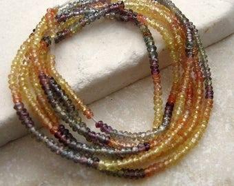 Multi Sapphire Rondelle Beads Yellow, Gray Blue, Orange, Purple 2 - 3mm - Half Strand 8 inches